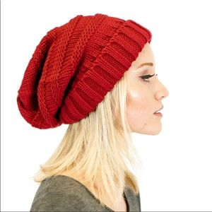 C.C slouchy red Bennie OS perfect for fall